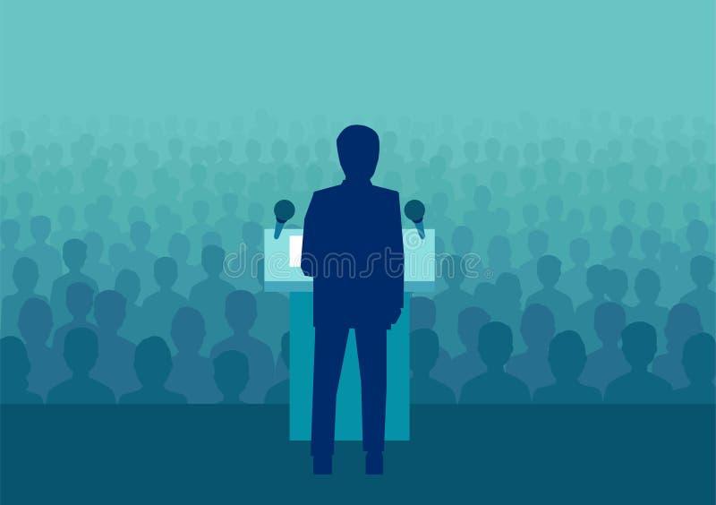 Wektor biznesmen mówi wielki tłum ludzie polityk lub ilustracji