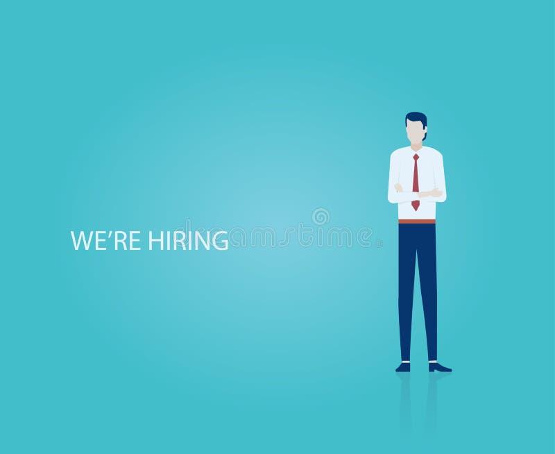 Wektor biznesmen osoba werbująca szuka nowych pracowników ilustracji