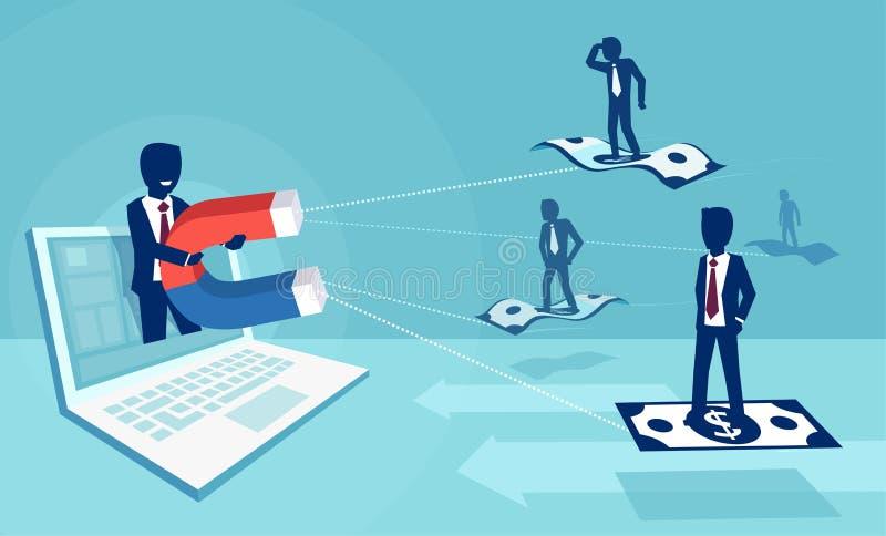 Wektor biznesmen z magnesem przyciąga ludzi i pieniądze na ogólnospołecznej medialnej platformie ilustracji