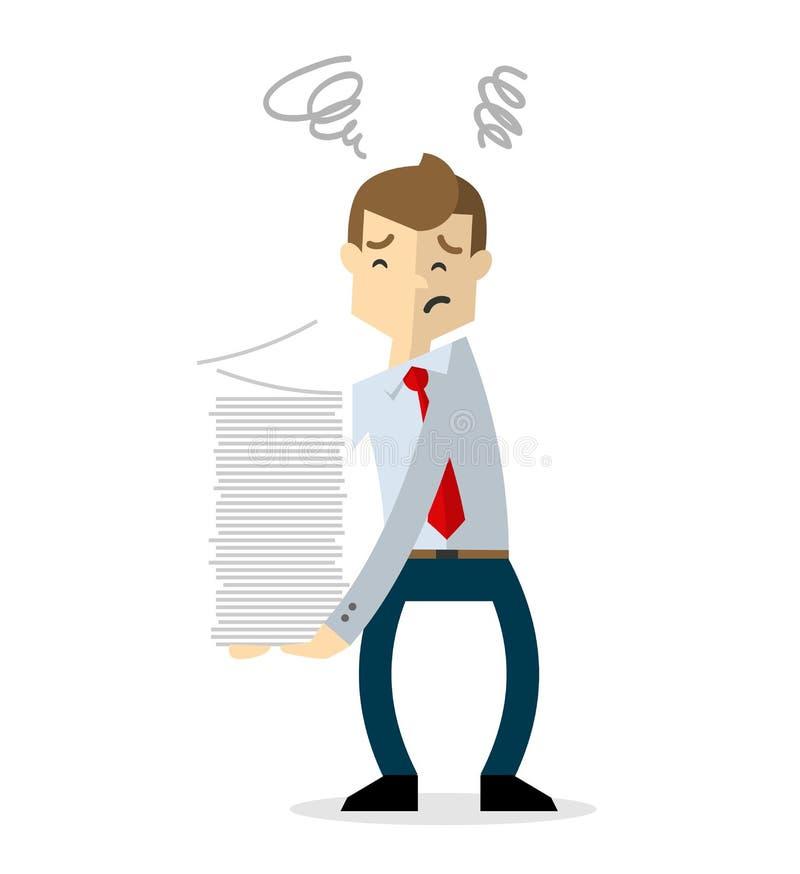 Wektor biznesmen z przeciążenie papierkową robotą 2 ilustracja wektor