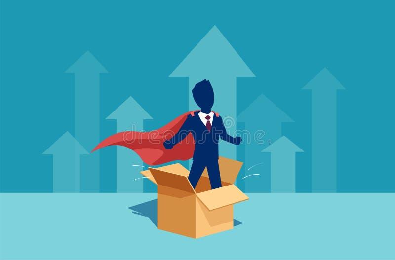 Wektor biznesmena korporacyjny pracownik jako super bohatera główkowanie na zewnątrz pudełka royalty ilustracja