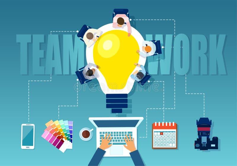 Wektor biznesmeni, kreatywnie drużyna brainstorming nowego pomysł ilustracji