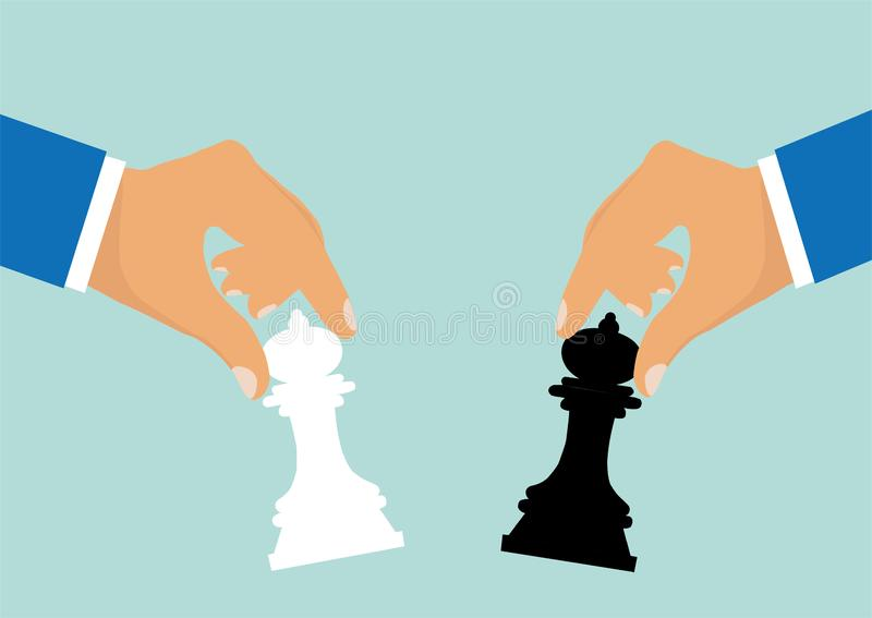 Wektor biznesmeni rusza się szachowych kawałki jako symbol rywalizacji korporacyjna negocjacja royalty ilustracja