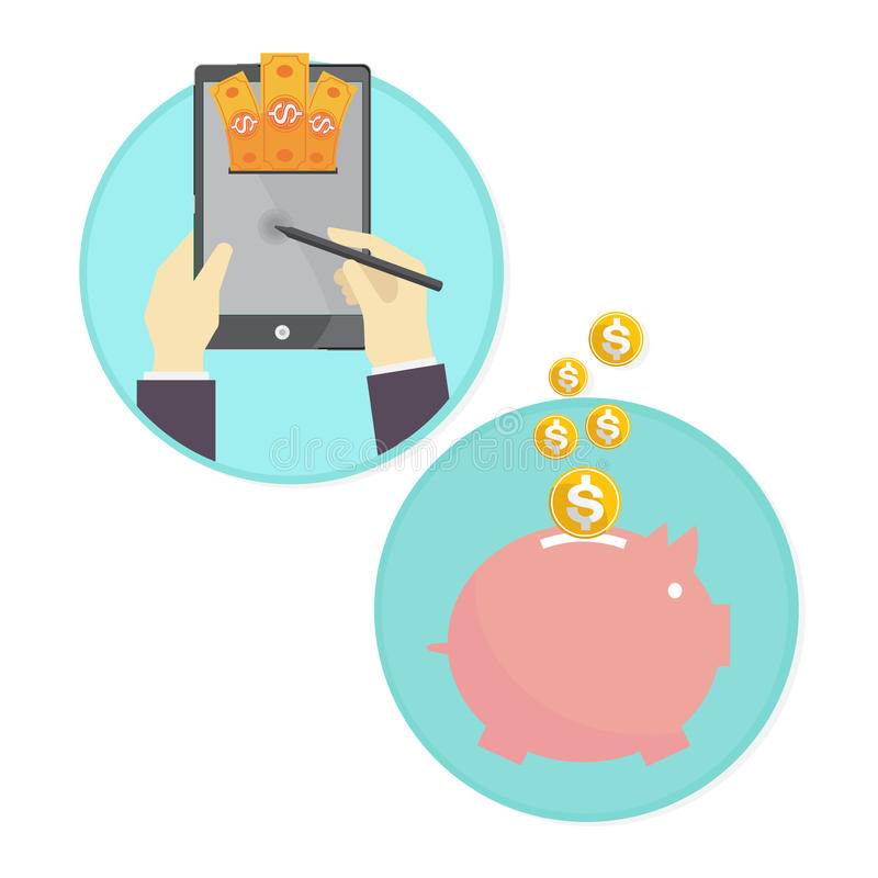 Wektor biznesowego mężczyzna oszczędzania pieniądze prosiątka bank online ilustracji