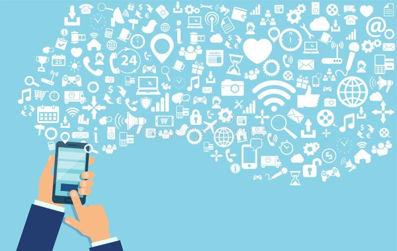 Wektor biznesowego mężczyzny ręka używać wieloskładnikowych smartphone apps wyszukuje sieć royalty ilustracja