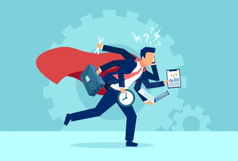 Wektor biznesowego mężczyzny super bohatera bieg w spiesznym multitasking ilustracji