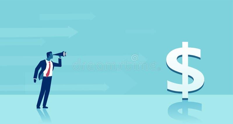 Wektor biznesowy mężczyzna patrzeje w lornetkach szuka dla pomyślnych inwestorskich pomysły ilustracja wektor