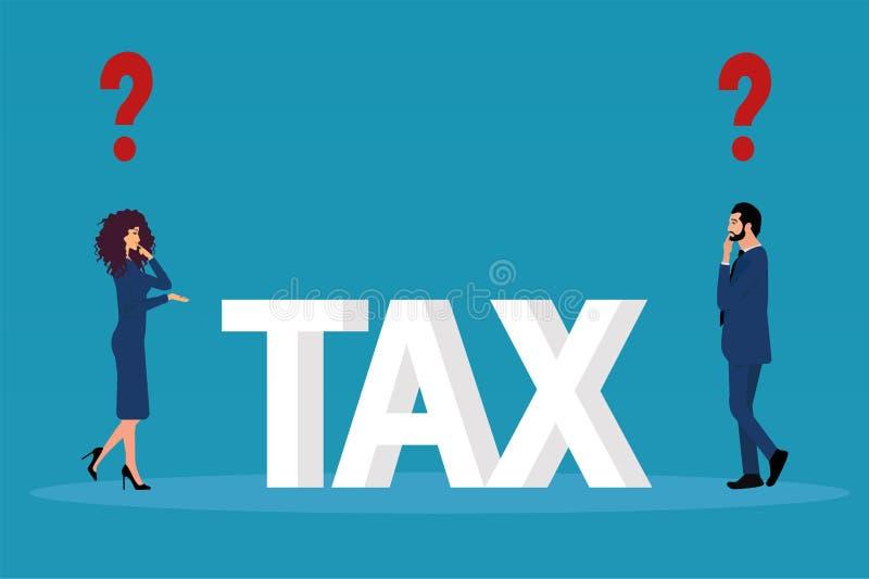 Wektor biznesowy mężczyzna ma podatki odnosić sie pytania młodej pary bizneswoman i royalty ilustracja