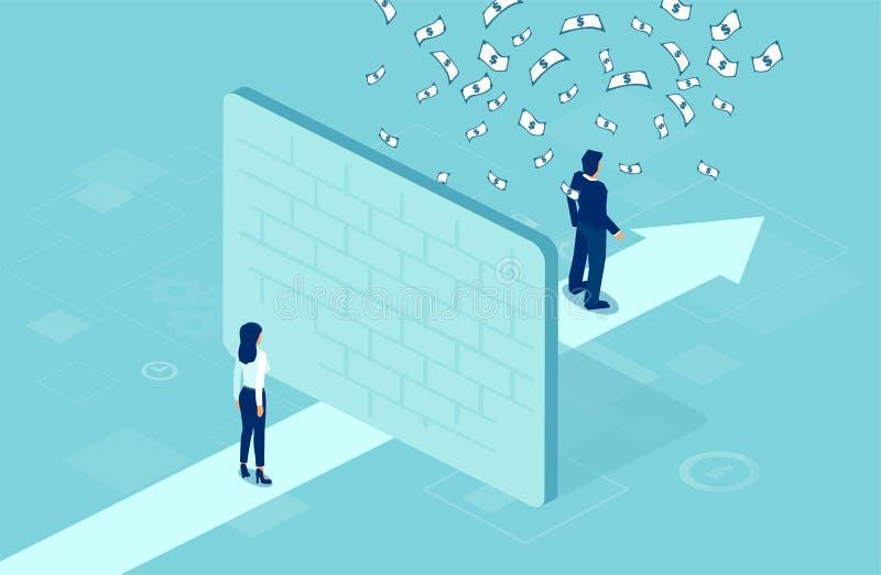 Wektor bizneswoman oddzielał ścianą od biznesmena pod pieniądze deszczem royalty ilustracja