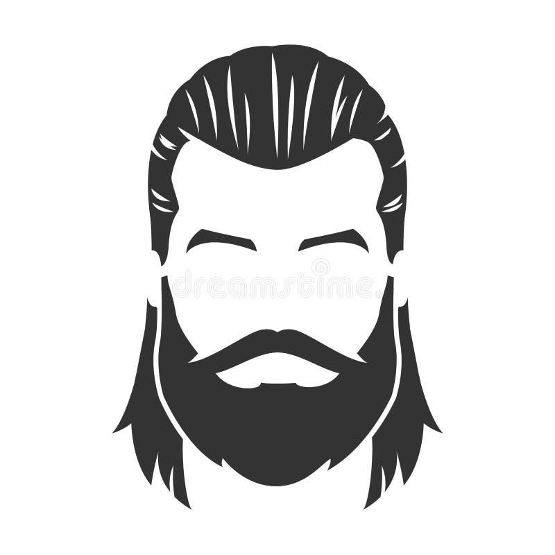 Wektor brodata mężczyzna twarz z wąsy, długie włosy ilustracja wektor