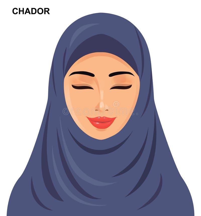 Wektor - chador kłobuku styl, piękna arabska muzułmańska kobieta - royalty ilustracja