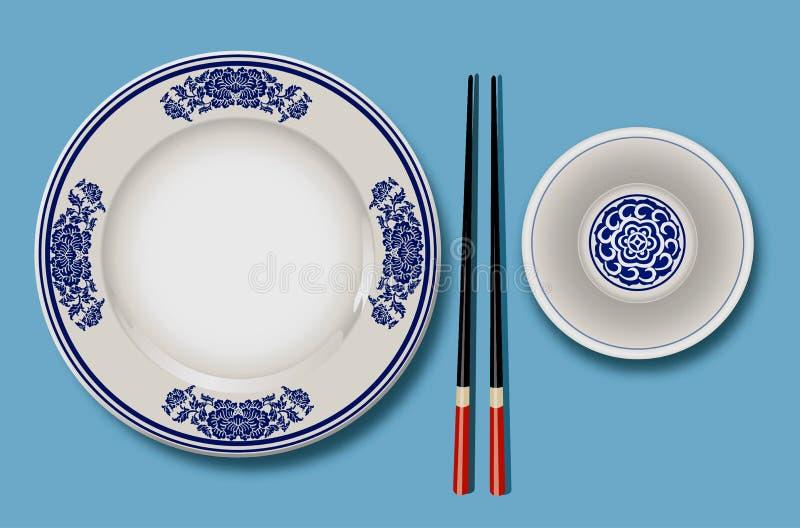 Wektor Chińska porcelana z chopsticks royalty ilustracja