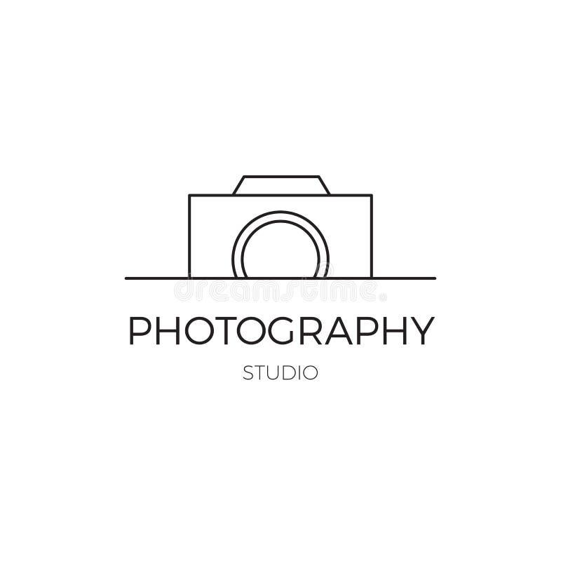 Wektor cienka kreskowa ikona, kamery sylwetka Loga szablon ilustracja wektor