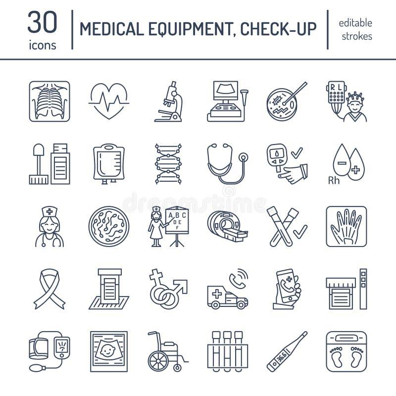 Wektor cienka kreskowa ikona sprzęt medyczny, badanie Medyczny badania kontrolne, próbni elementy - MRI, xray, glucometer, ciśnie ilustracji