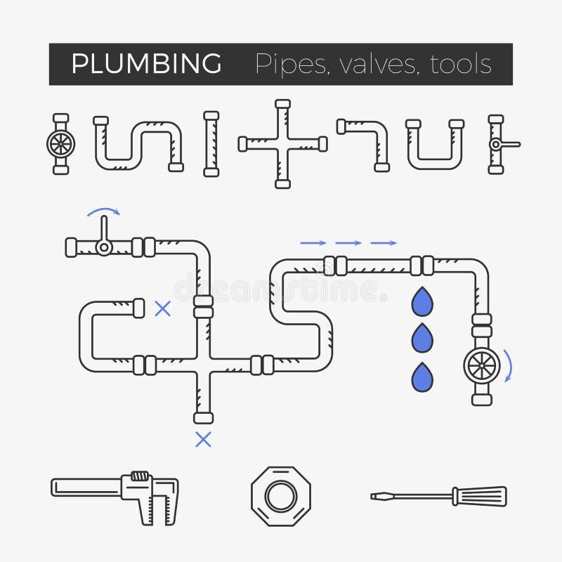 Wektor cienkie kreskowe ikony instalacj wodnokanalizacyjnych rzeczy ilustracja wektor