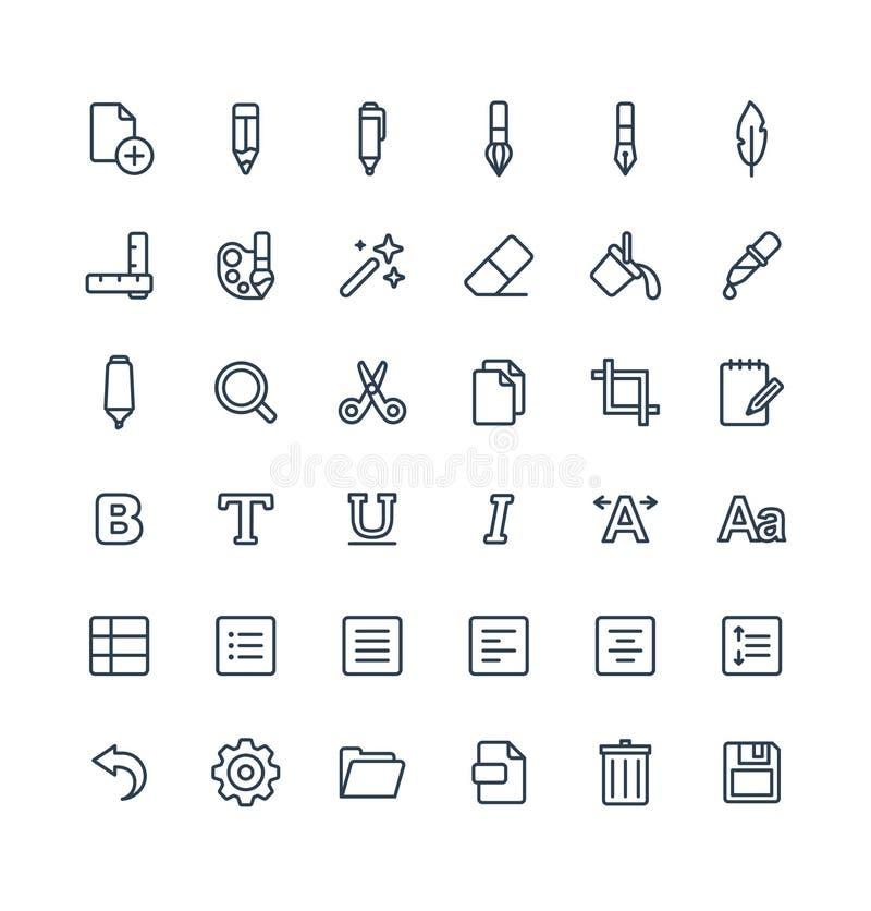 Wektor cienkie kreskowe ikony ustawiać i graficznego projekta elementy Ilustracja z tekstem redaguje, graficzni narzędzie konturu ilustracji