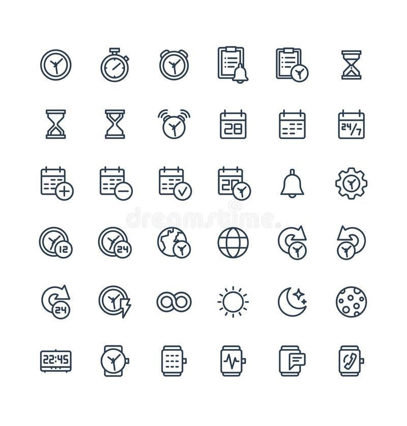 Wektor cienkie kreskowe ikony ustawiać z daktylowych i czasu konturu symbolami ilustracji