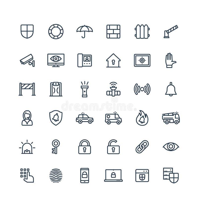 Wektor cienkie kreskowe ikony ustawiać z ochroną, cyber konturu zbawczy symbole ilustracja wektor
