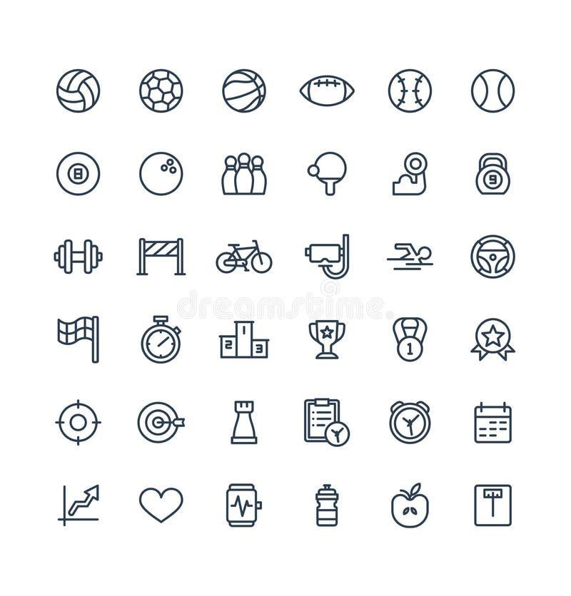 Wektor cienkie kreskowe ikony ustawiać z sportem i sprawnością fizyczną zarysowywają symbole ilustracja wektor