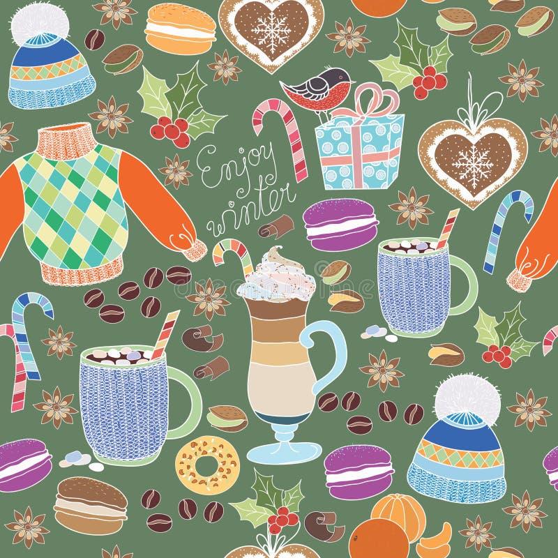 Wektor Cieszy się zimy kolekcję Set zima wakacje na kolorowym tle Bezszwowy wzór z zimą odziewa, cukierki, macar royalty ilustracja