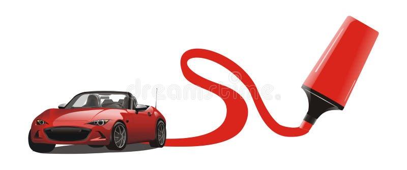 Wektor czerwony sportowego samochodu rysunek ilustracji