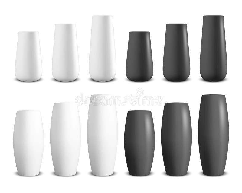 Wektor 3d Realistyczny Odpłaca się Białą i Czarną Ceramiczną wazę Ustalony zbliżenie Odizolowywający na Białym tle Podłogowi puch royalty ilustracja