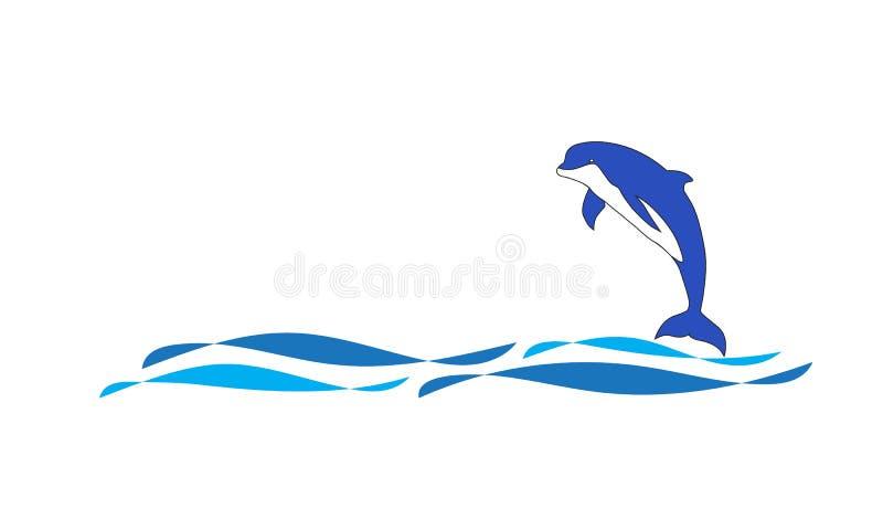 Wektor delfinu skoku logo ilustracji