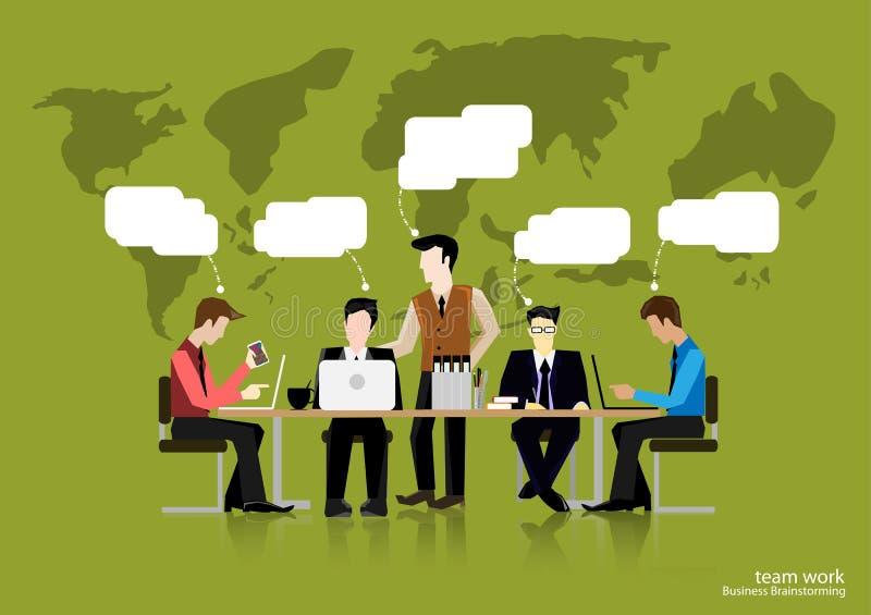 Wektor drużyny pracy biznesmena brainstorming myśleć globalnie i spotkanie z światowymi mapami używać w biznesowych zastosowań pł ilustracji