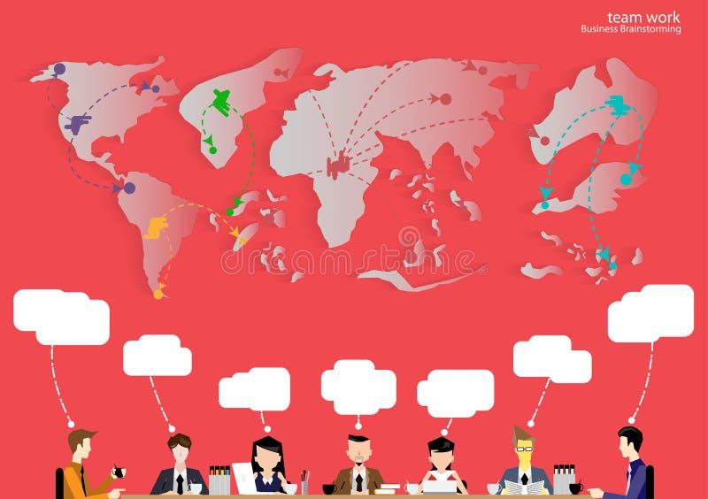 Wektor drużyny pracy biznesmena brainstorming myśleć globalnie i spotkanie z światowymi mapami używać w biznesowych zastosowań pł royalty ilustracja
