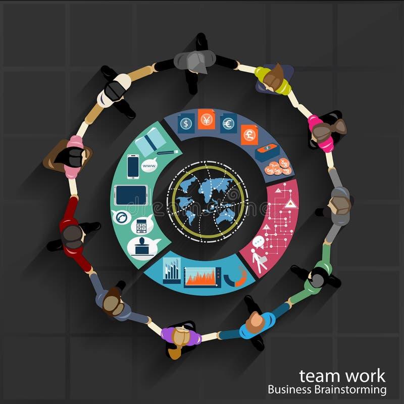 Wektor drużyny pracy Biznesowy brainstorming i kolaboruje royalty ilustracja