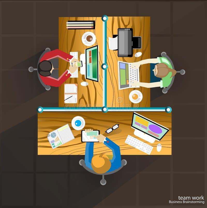 Wektor drużyny pracy Biznesowy brainstorming i spotkanie na stole ilustracja wektor