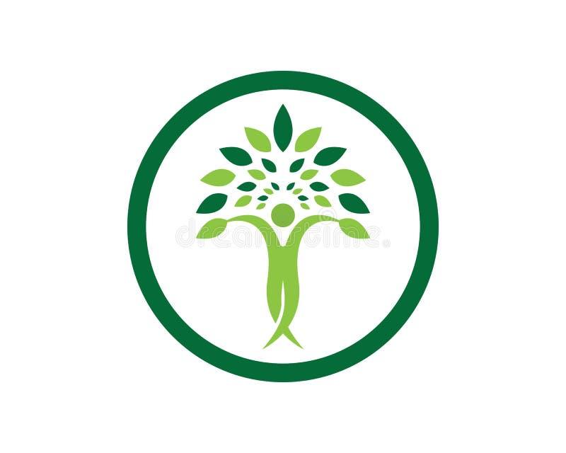 Wektor - drzewo zieleni dowodu tożsamości loga wektorowego szablonu ludzie royalty ilustracja