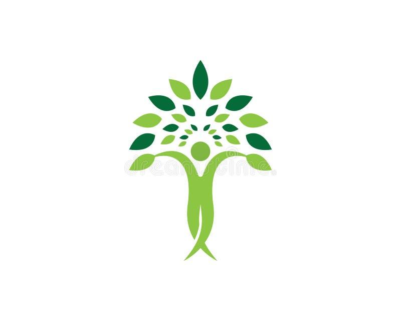 Wektor - drzewo zieleni dowodu tożsamości loga wektorowego szablonu ludzie ilustracji