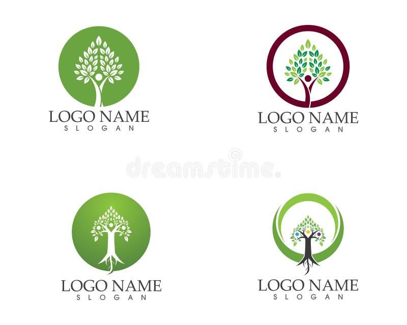 Wektor - drzewo zieleni dowodu tożsamości loga wektorowego szablonu ludzie ilustracja wektor
