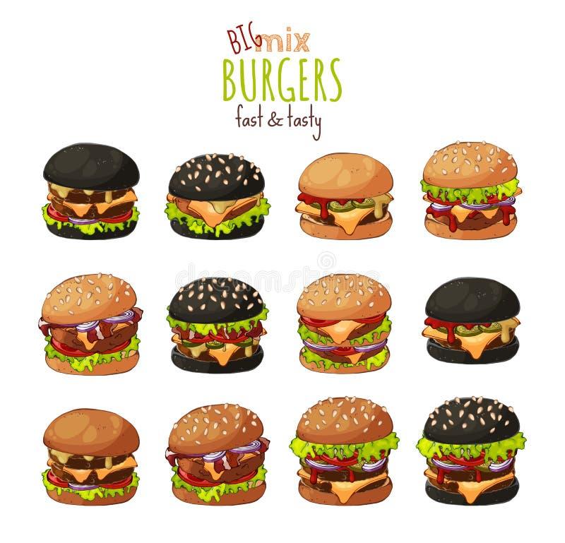 wektor Duży set różni rodzaje hamburgery zdjęcia stock