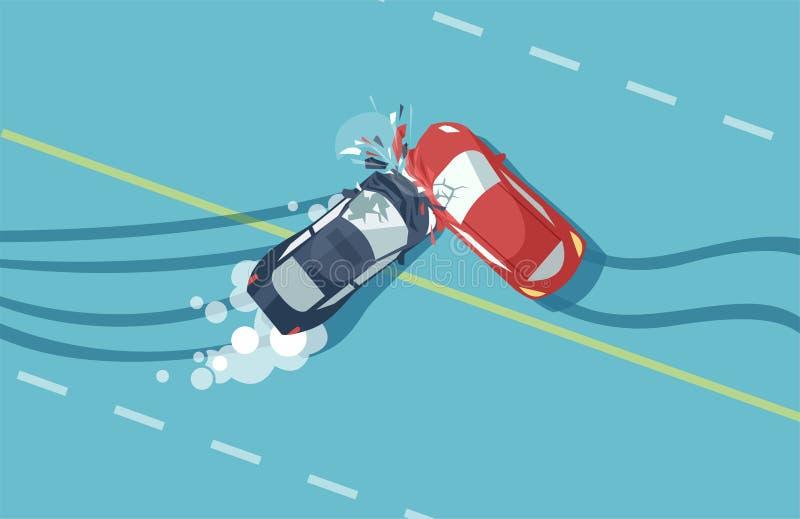 Wektor dwa wypadk?w samochodowych odg?rny widok pojazd royalty ilustracja