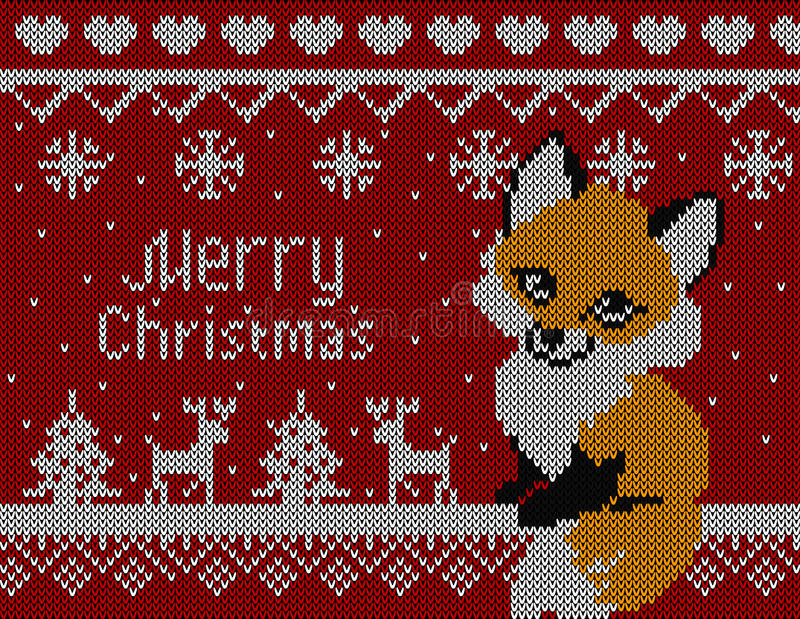 Wektor dział kartkę bożonarodzeniowa z lisa drzewem i rogaczem Czerwony tło, boże narodzenie tapeta 2016 ilustracji