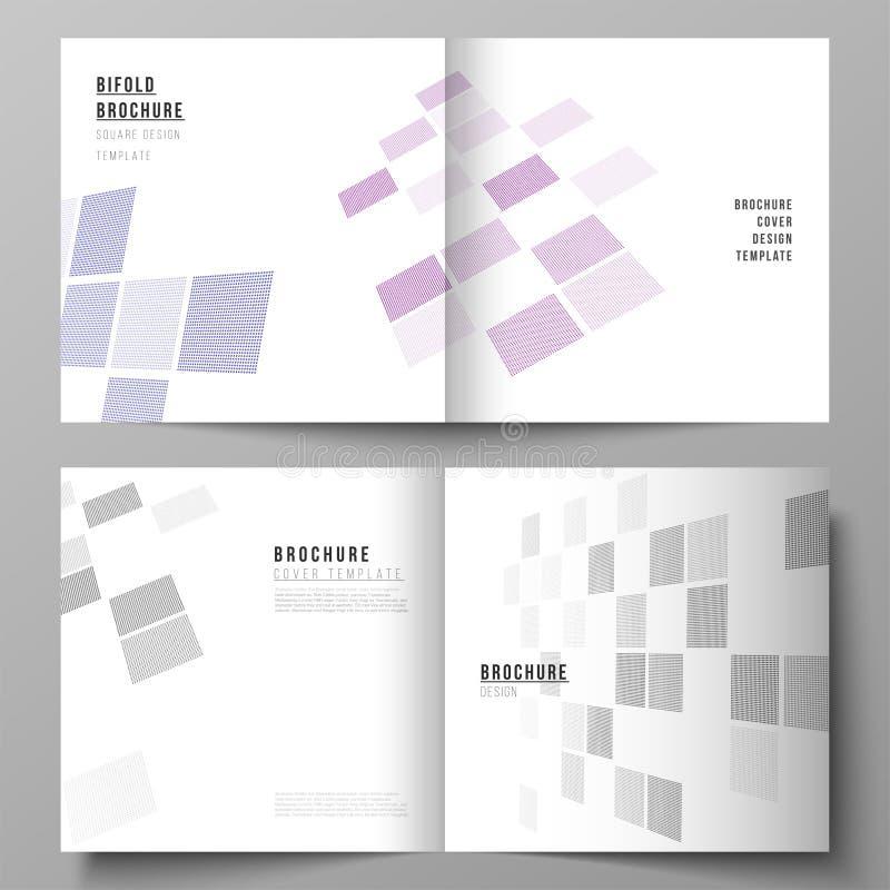 Wektor editable układ dwa pokrywa szablonu dla kwadratowego projekta bifold broszurki, magazyn, ulotka, broszura royalty ilustracja
