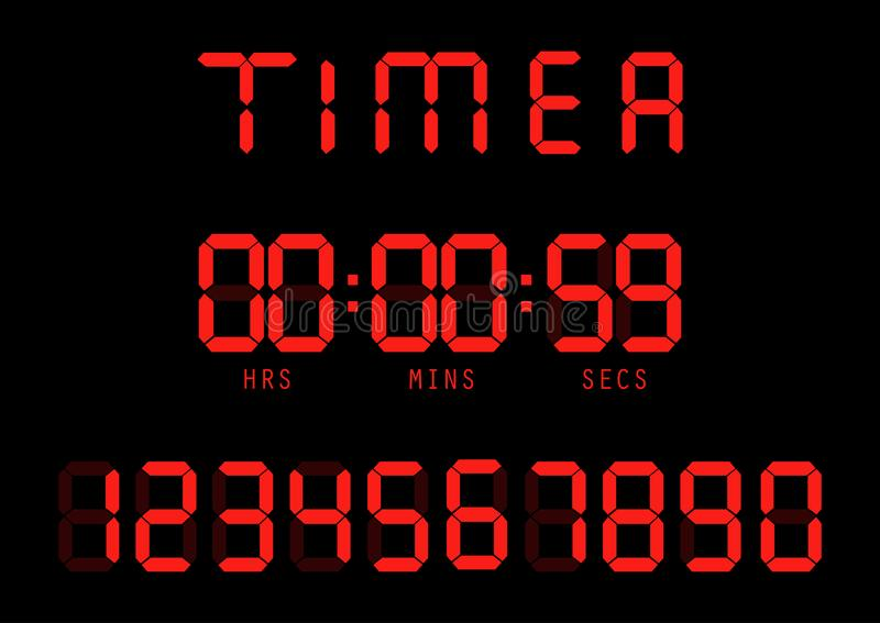 wektor Elektroniczny zegar, fluorescencyjny cyfrowy pokaz z cyfrą royalty ilustracja
