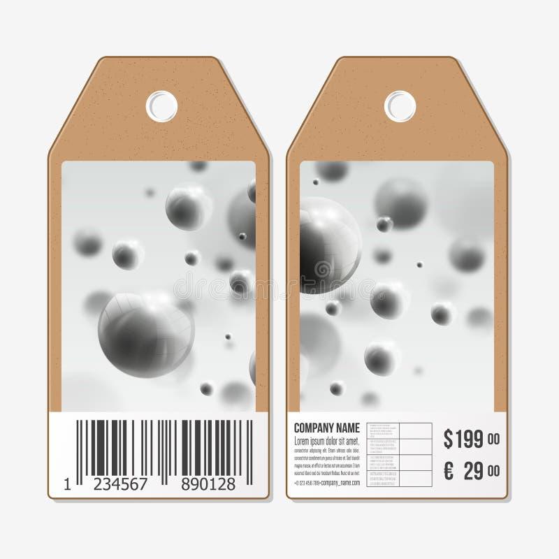 Wektor etykietek projekt na obich stronach, kartonowe sprzedaży etykietki z barcode Trójwymiarowe rozjarzone stalowe sfery, szaro royalty ilustracja