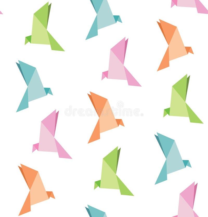 Wektor falcowanie papier ptak, origami, bezszwowy tło zdjęcie stock