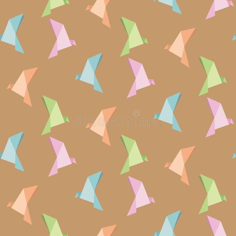 Wektor falcowanie papier ptak, origami, bezszwowy tło obrazy stock