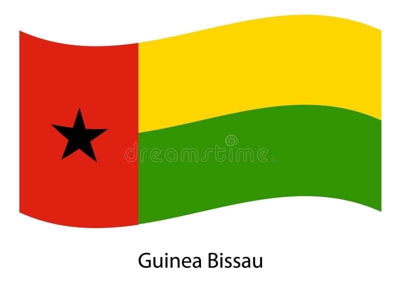 Wektor falowanie gwinei Bissau flaga, odosobniona chorągwiana ikona ilustracji