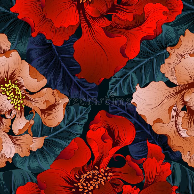 wektor Fantazja kwiaty - dekoracyjny skład Kwiaty z długimi płatkami wally wzór bezszwowego ilustracja wektor