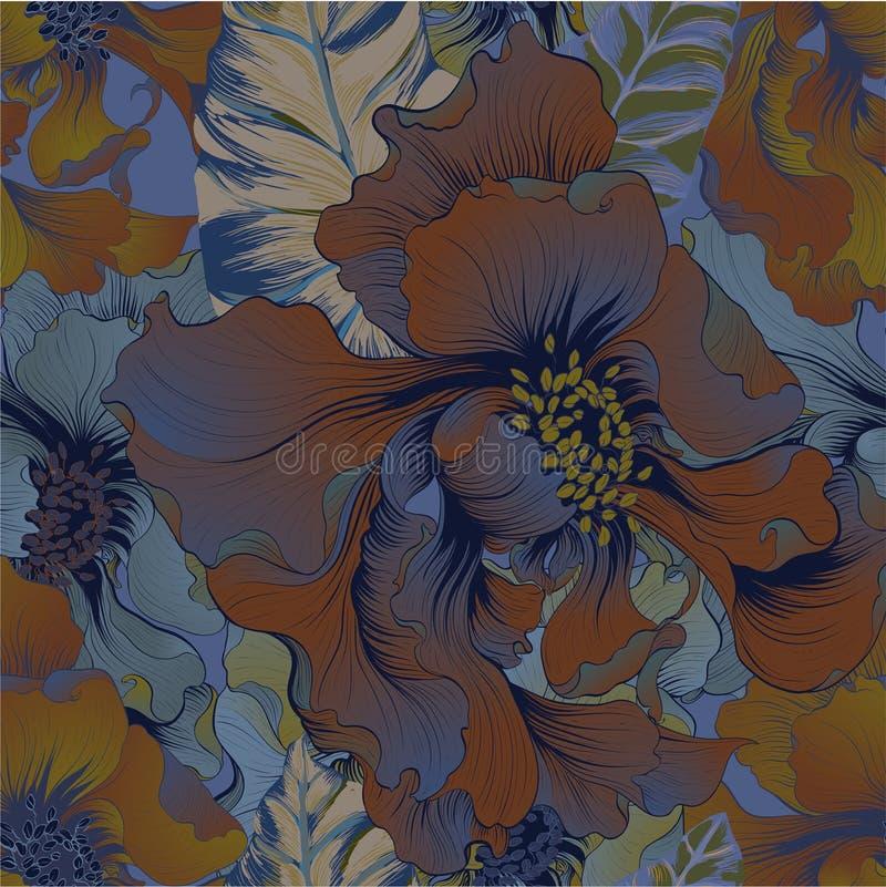 wektor Fantazja kwiaty - dekoracyjny skład Kwiaty z długimi płatkami wally wzór bezszwowego ilustracji