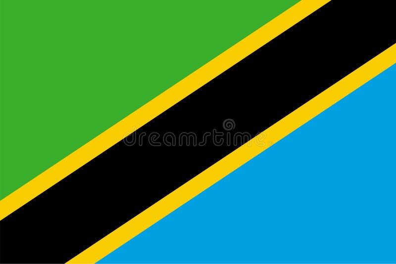 Wektor flaga Tanzania Proporcji 2:3 Tanzańska flaga państowowa Zlana republika Tanzania royalty ilustracja
