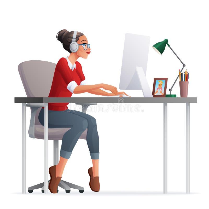 Wektor freelance kobiety pracujący ministerstwo spraw wewnętrznych z komputerem stacjonarnym royalty ilustracja