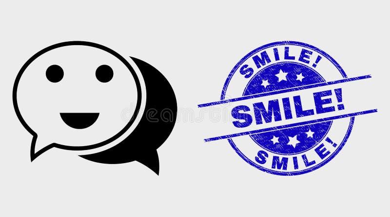 Wektor gadki Kreskowa Szczęśliwa ikona i cierpienie uśmiech! Znaczek royalty ilustracja