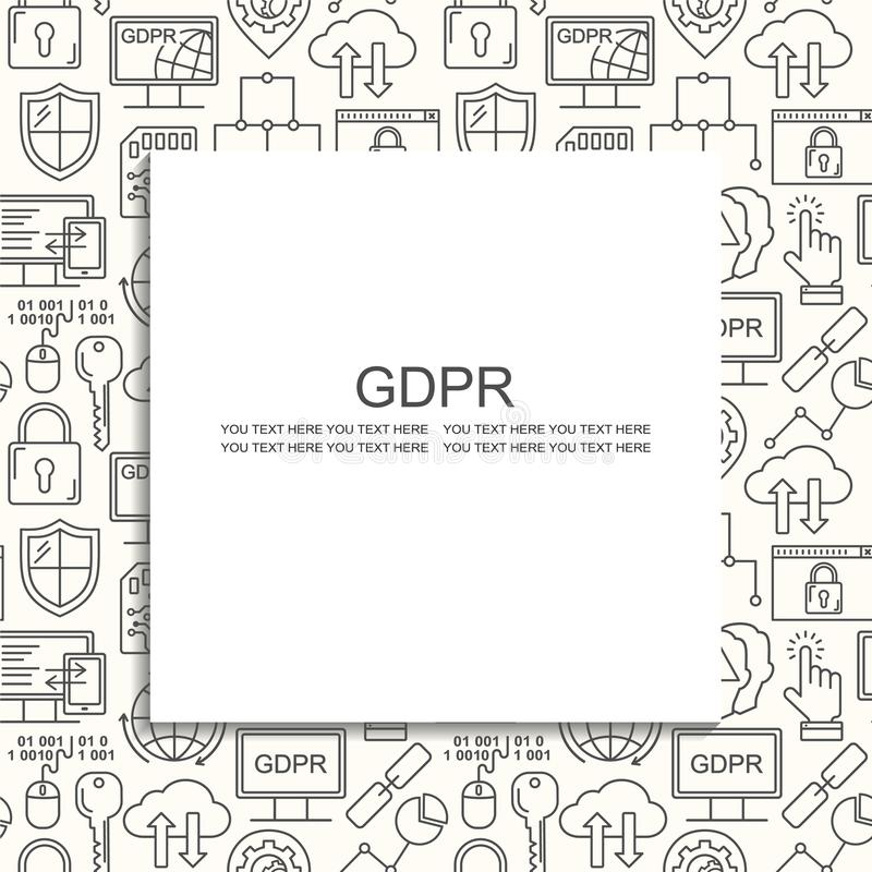 Wektor GDPR - Ogólnych dane ochrony Przepisowy bezszwowy wzór z kreskowego stylu ikonami Sieci ochrona i prywatność czernimy na b ilustracji