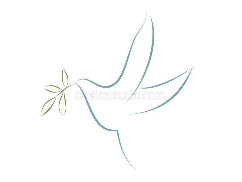 Wektor gołąbka z oliwnymi liśćmi Symbol pokój royalty ilustracja